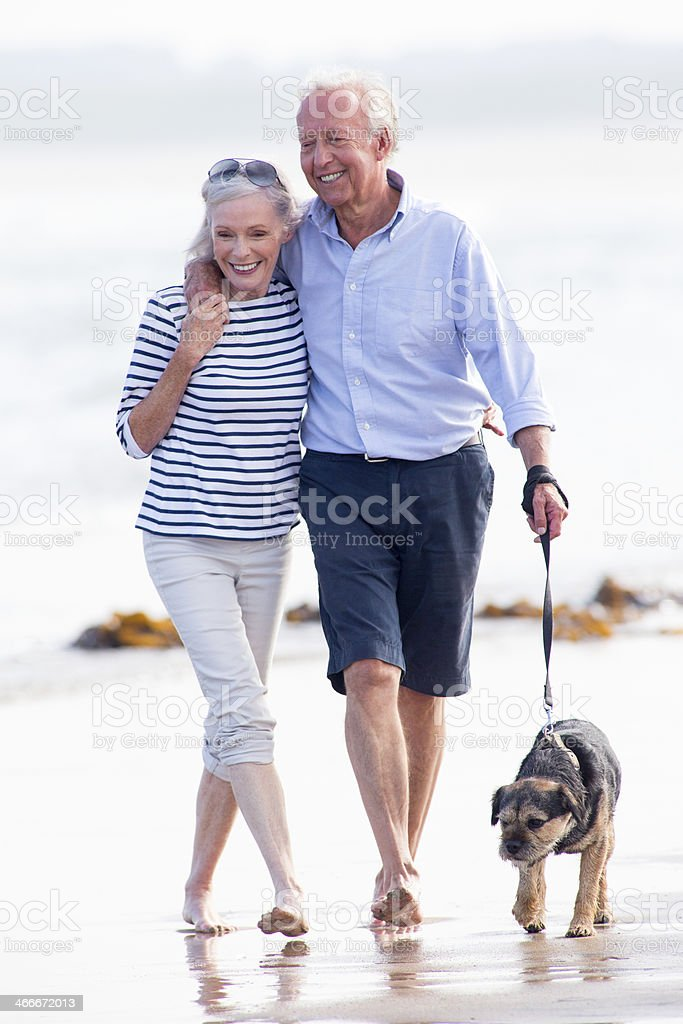 Couple Stroll Along The Beach With The Dog stock photo