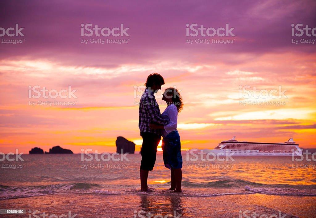 Couple Summer Beach Happiness Honeymoon Concept stock photo