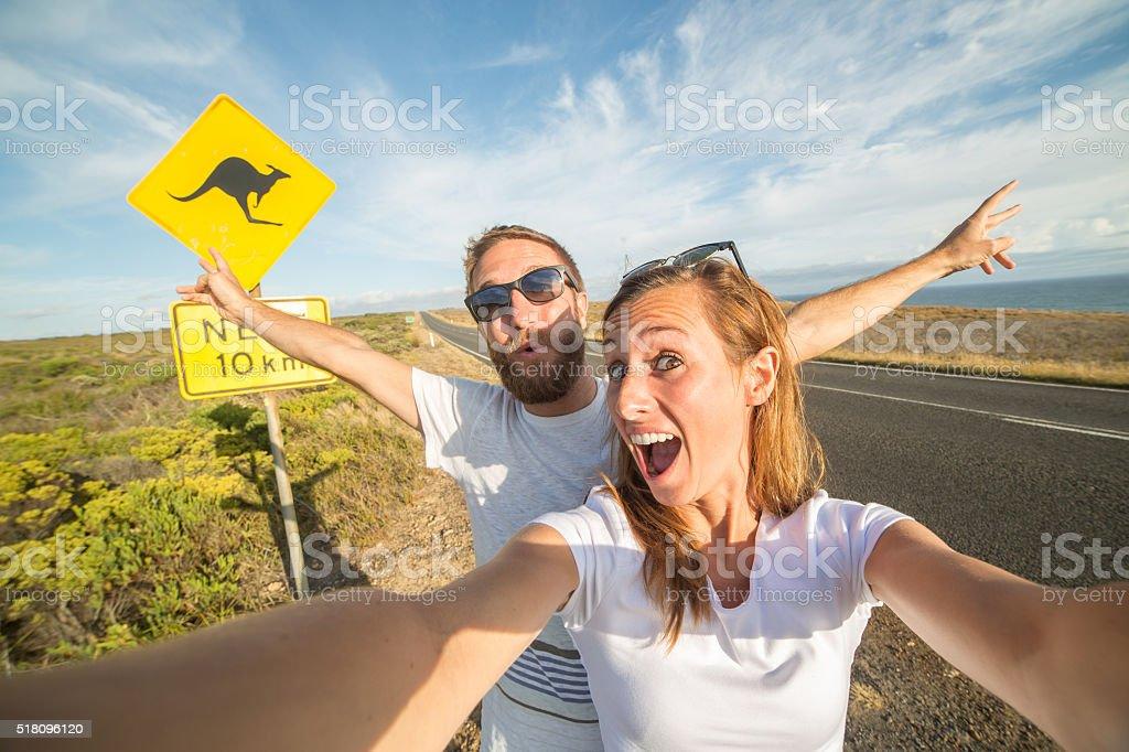 Couple take selfie portrait in Australia stock photo