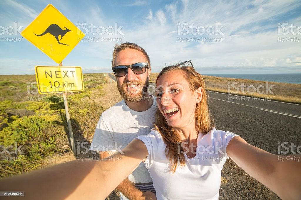 Couple take selfie portrait in Australia stock photo