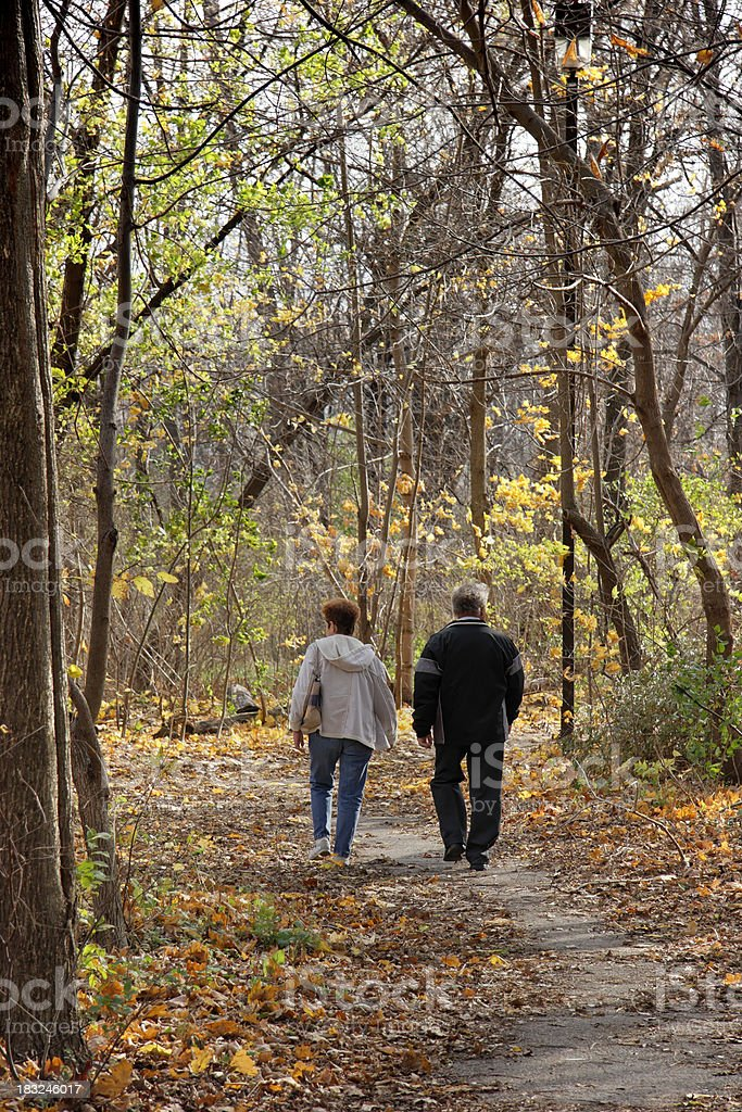 Couple taking a stroll in Autumn royalty-free stock photo