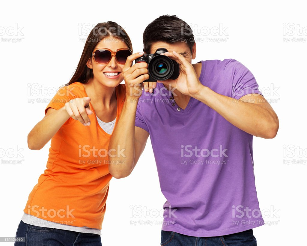 Couple Taking Picture - Isolated royalty-free stock photo