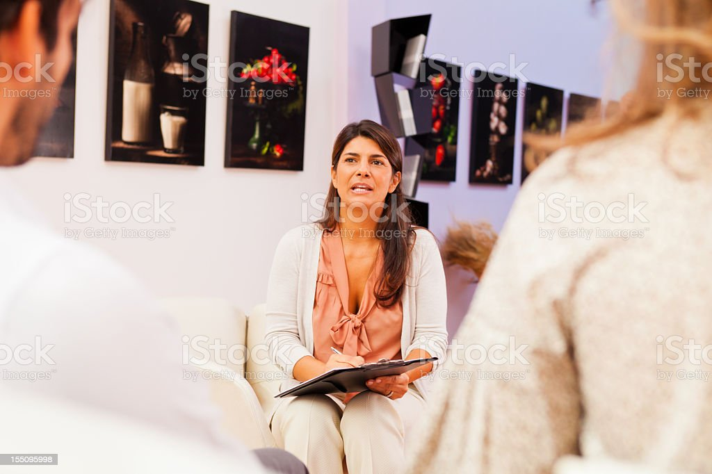 couple talking to their psychologist royalty-free stock photo