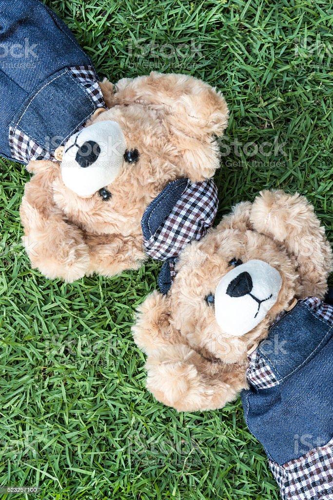 Couple teddy bears rest on lawn stock photo