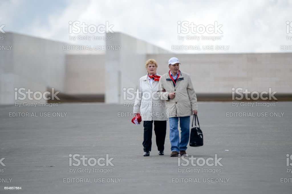 Couple, The Sanctuary of Fátima, Portugal stock photo