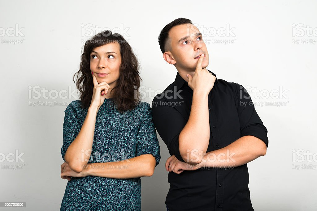 Couple thinking stock photo