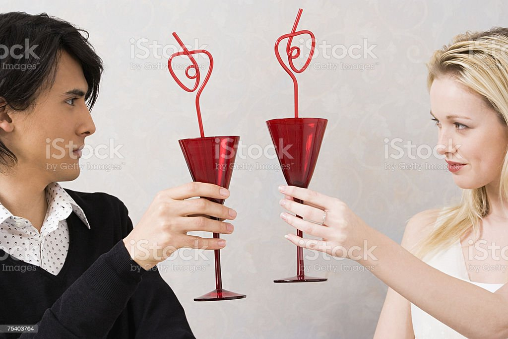 Couple toasting glasses royalty-free stock photo