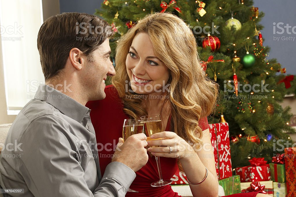 Couple Toasting In Front Of Decorated Christmas Tree royalty-free stock photo