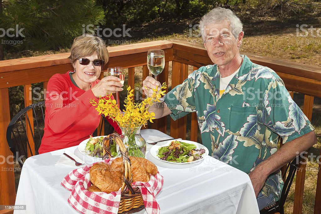 Couple Toasting the Viewer royalty-free stock photo