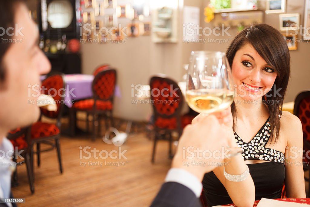 Couple toasting wineglasses royalty-free stock photo