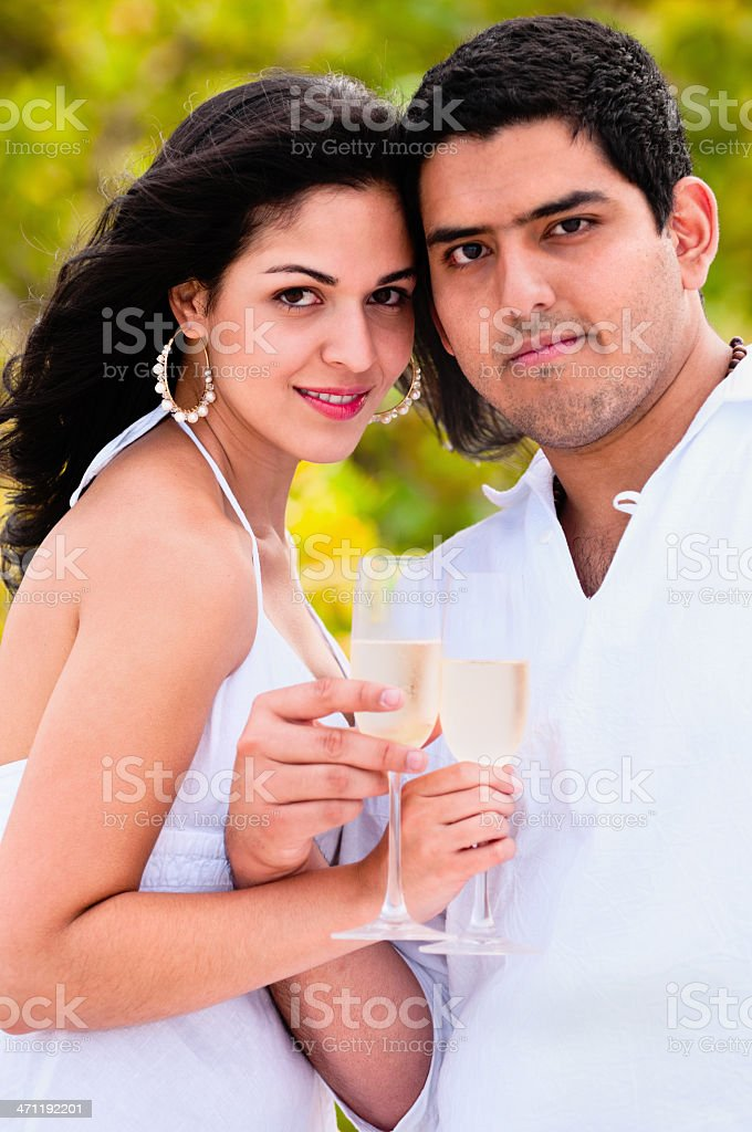 Couple toasting with champagne on tropical beach royalty-free stock photo