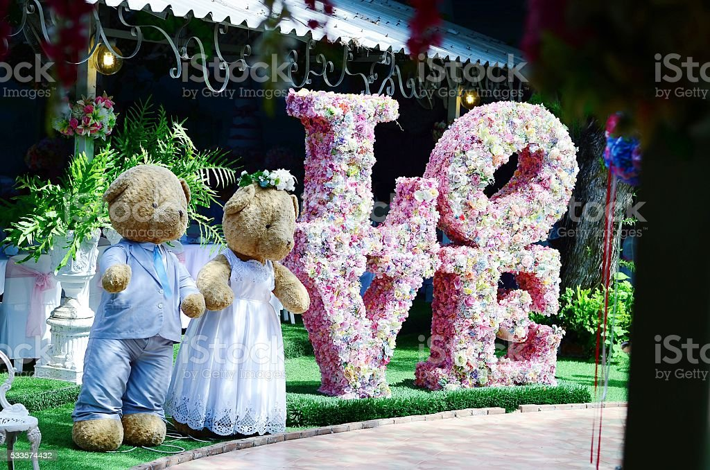 couple toys teddy bear in dress suit decoratet wedding stock photo