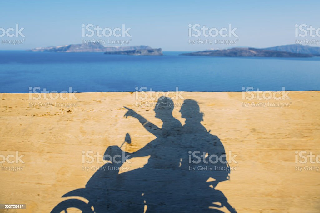 Couple travel on scooter stock photo