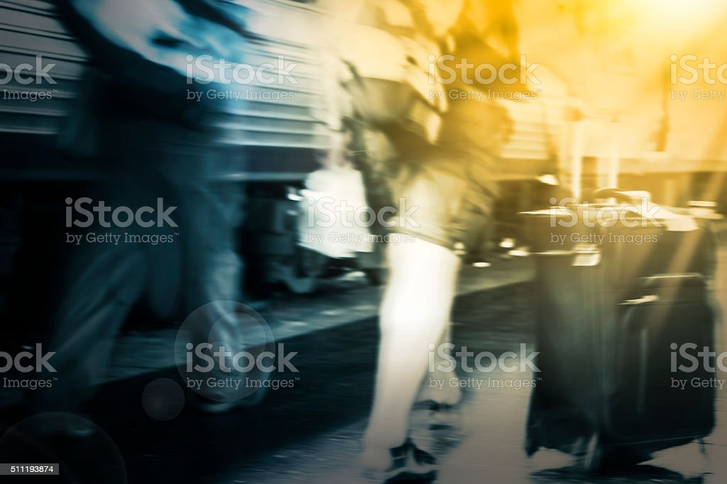 Couple travelers walking in the train station stock photo
