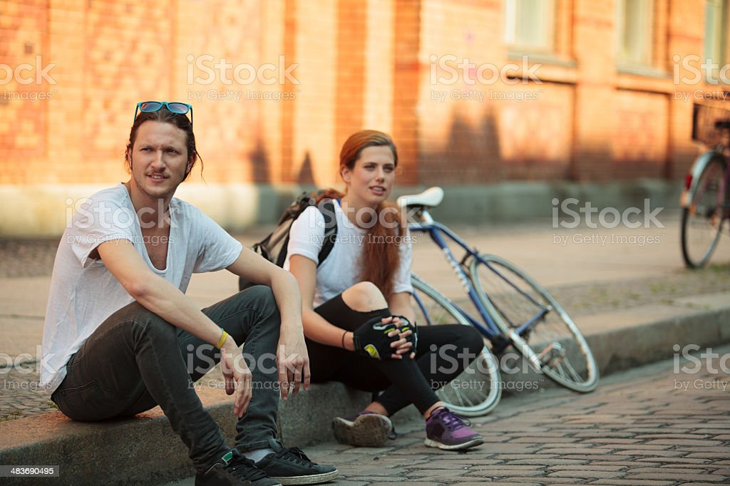 Couple traveling around a city on Bicycles. royalty-free stock photo