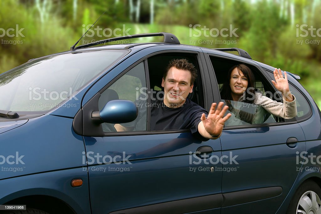 Couple Traveling In The Car royalty-free stock photo