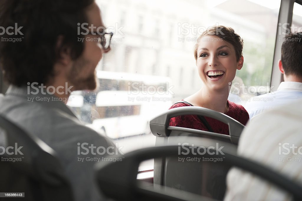 Couple travelling by bus stock photo