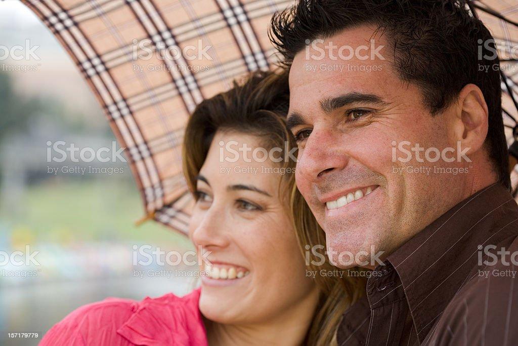 Couple Under an Umbrella royalty-free stock photo