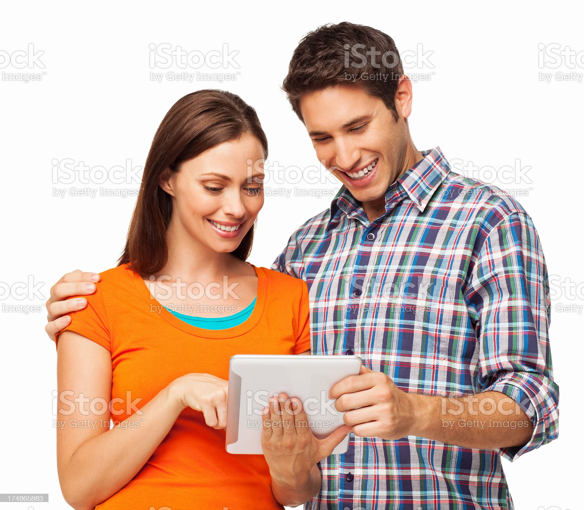 Couple Using Digital Tablet - Isolated royalty-free stock photo
