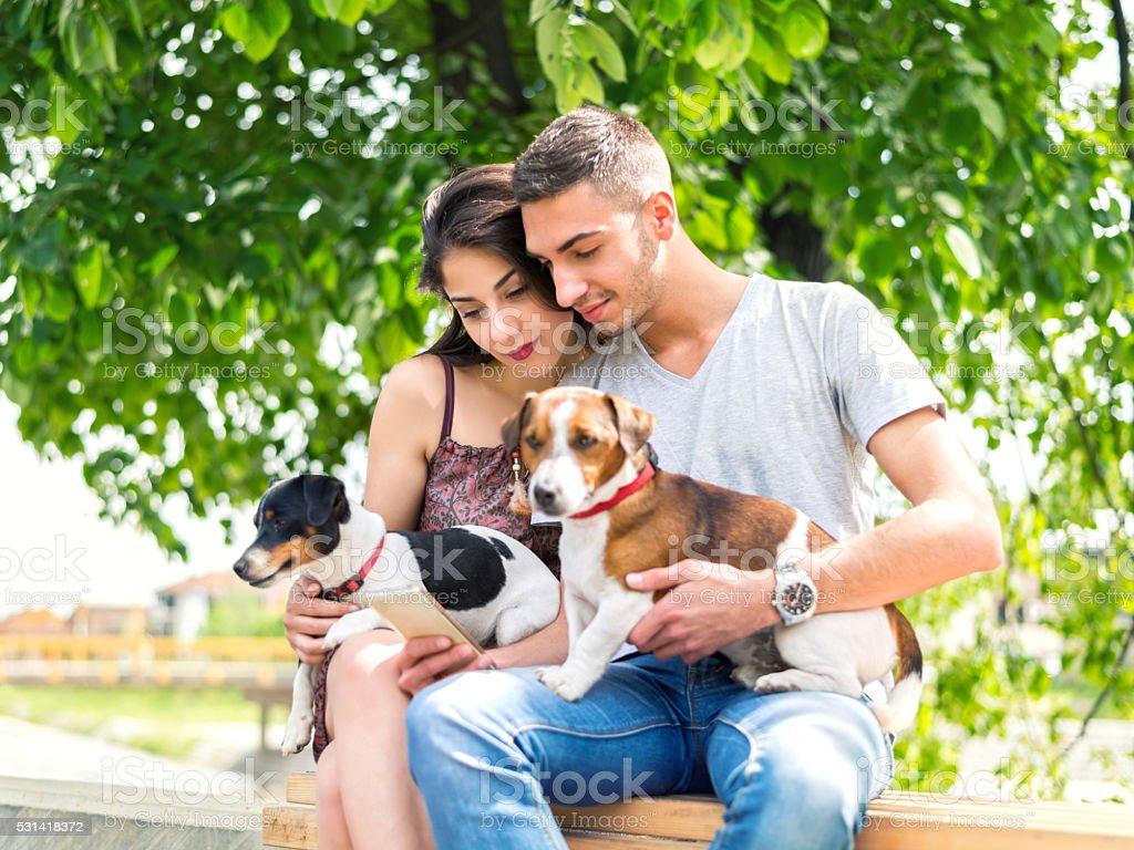 Couple Using Smart Phone stock photo
