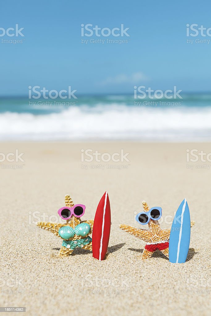 Couple Vacationing and Surfing in Tropical Beach Paradise Vt stock photo