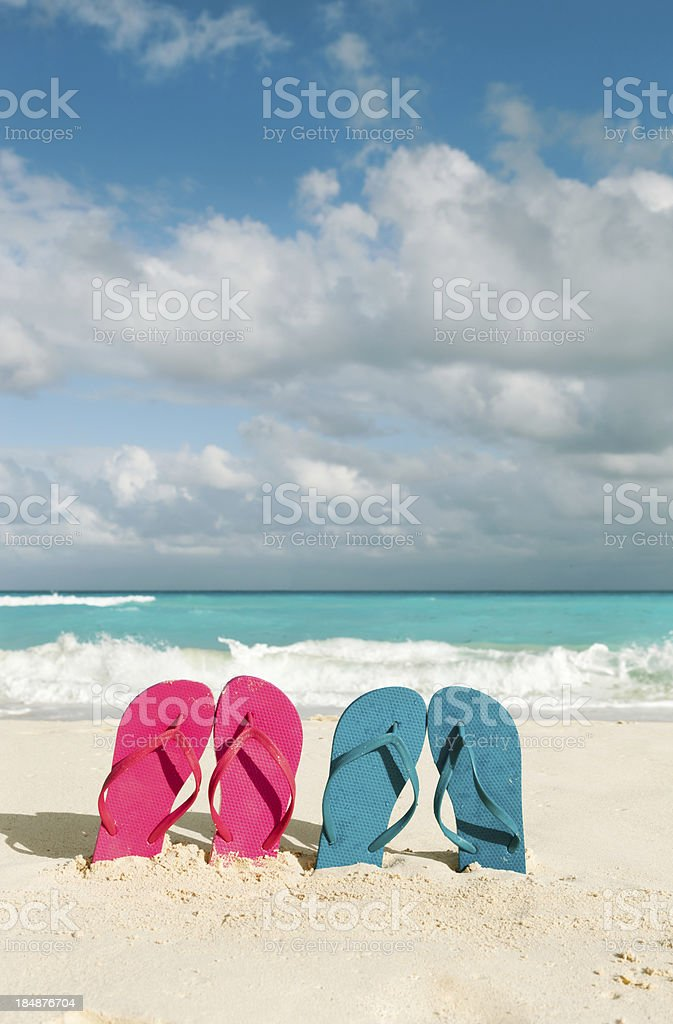 Couple Vacationing in Tropical Caribbean Beach royalty-free stock photo