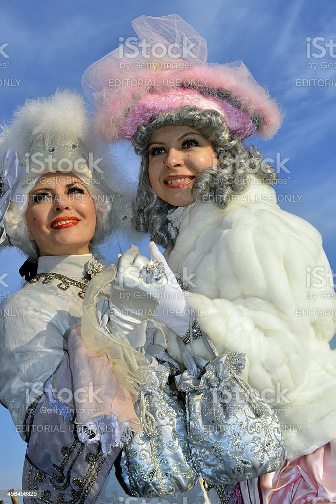 Couple Venice Carnival 2013 at Sunset, Canale Grande, Italy royalty-free stock photo