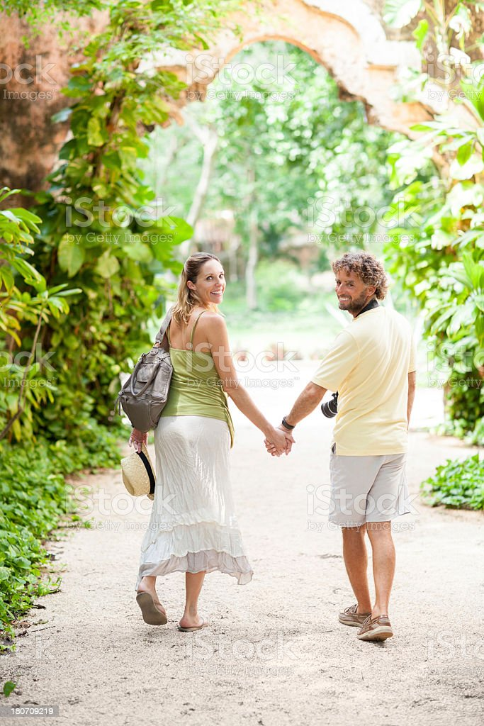 Couple visiting ruins royalty-free stock photo