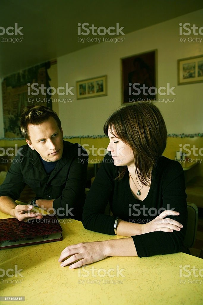 Couple Waiting to Order at a Diner royalty-free stock photo