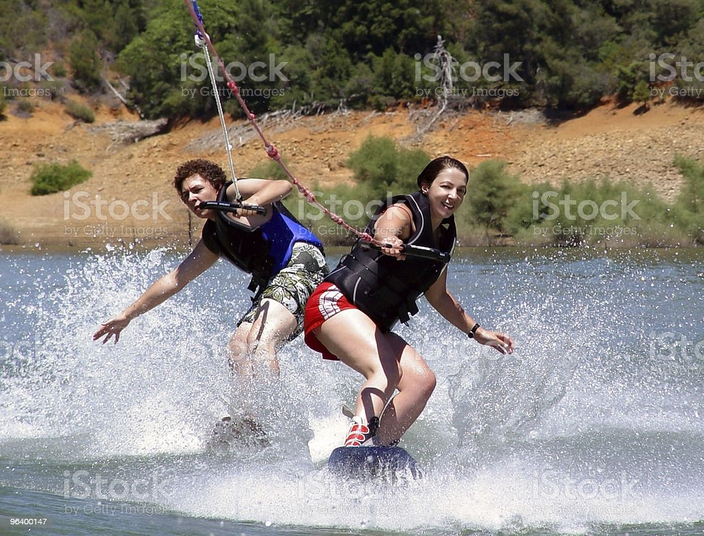 Couple wakeboarders stock photo