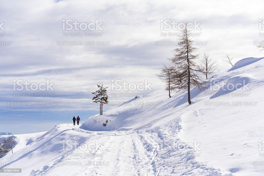 Couple walking at Plateau Velika Planina, Slovenia stock photo