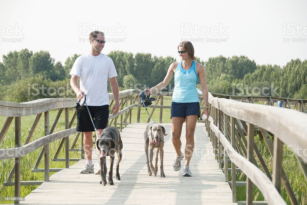 Couple walking dogs while exercising royalty-free stock photo