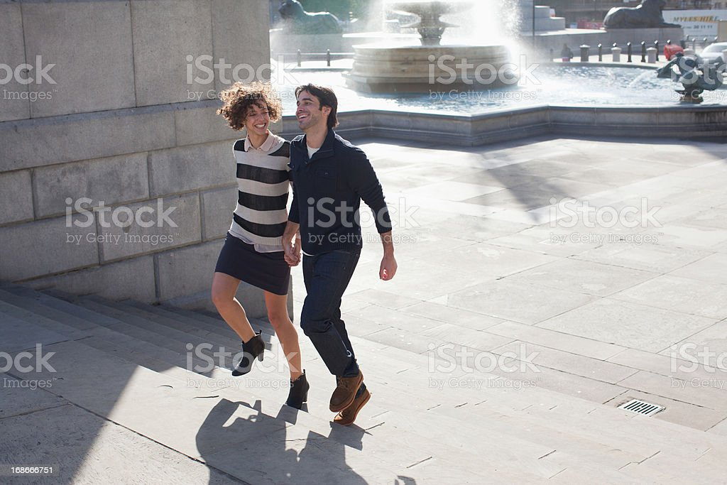 Couple walking in London royalty-free stock photo