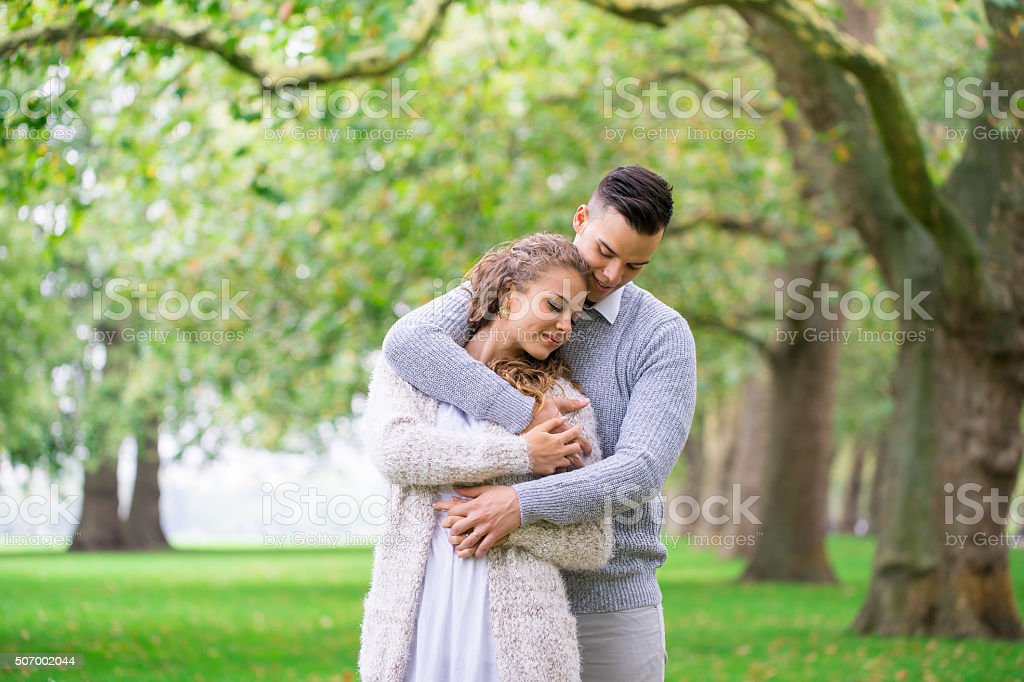 couple walking in the Hyde Park, Valentine day,  London stock photo