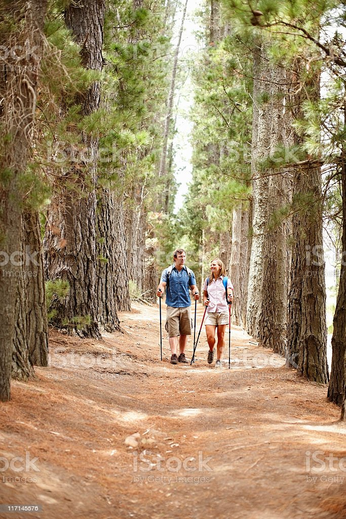 Couple walking in the woods with hiking poles royalty-free stock photo