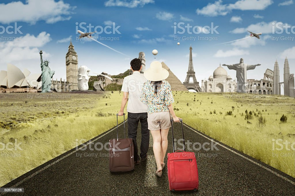 Couple Walking on The Road stock photo