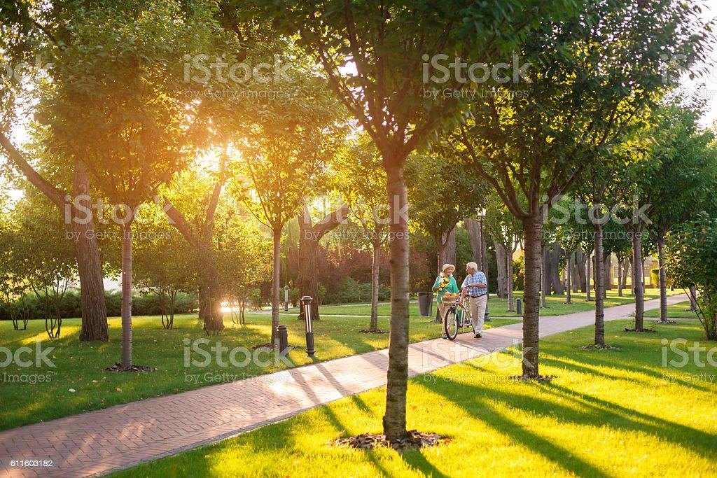 Couple walking with bike. stock photo