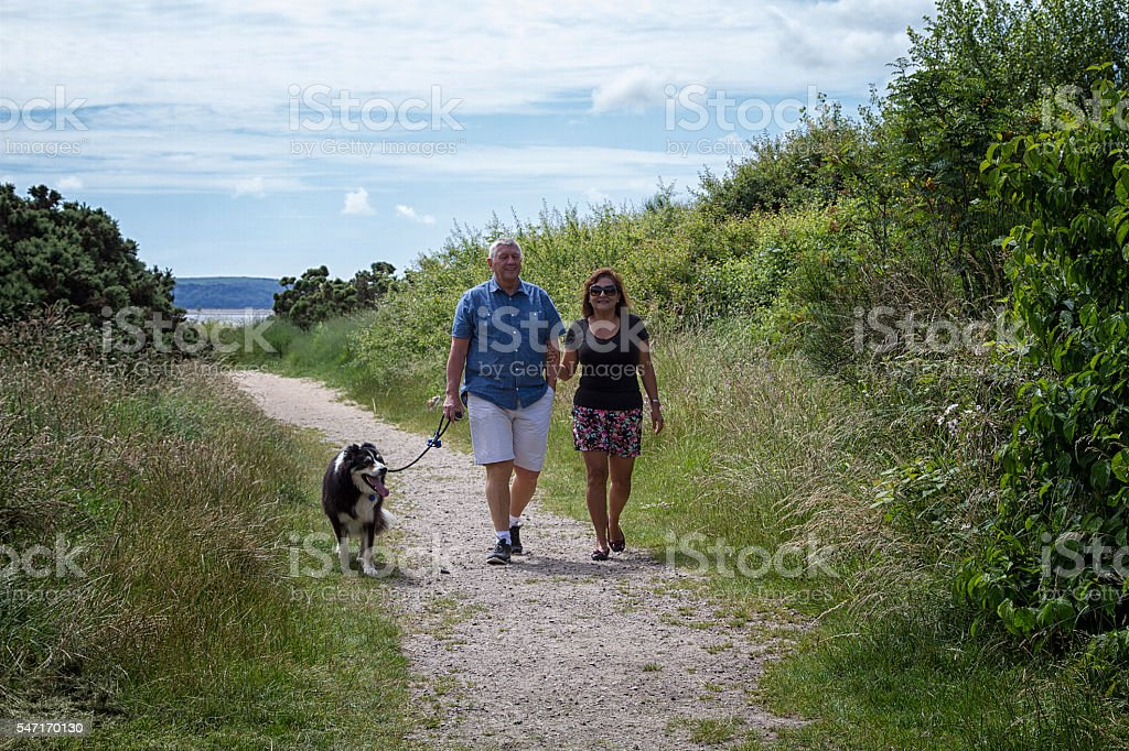 Couple walking with their dog stock photo