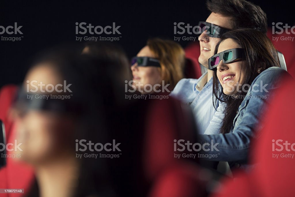 Couple Watching 3-d Movie in cinema royalty-free stock photo