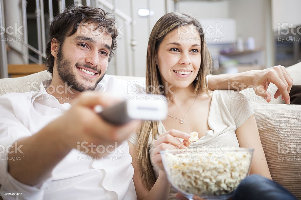 Couple watching a movie stock photo