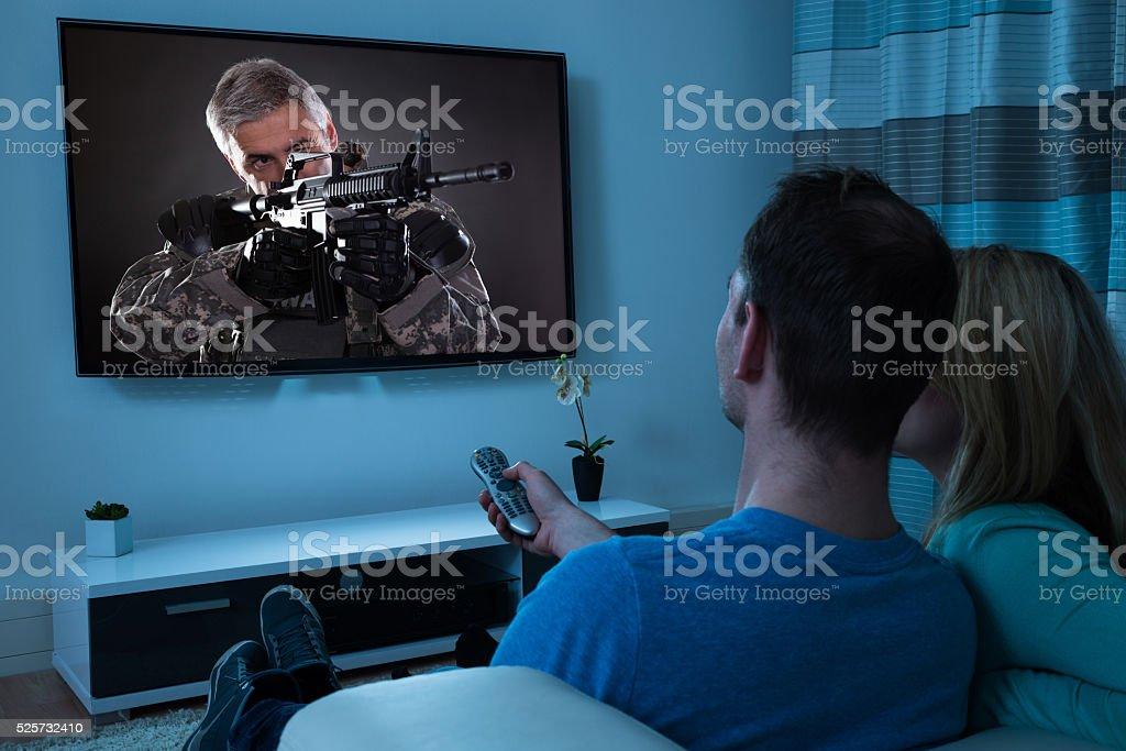 Couple Watching Film stock photo