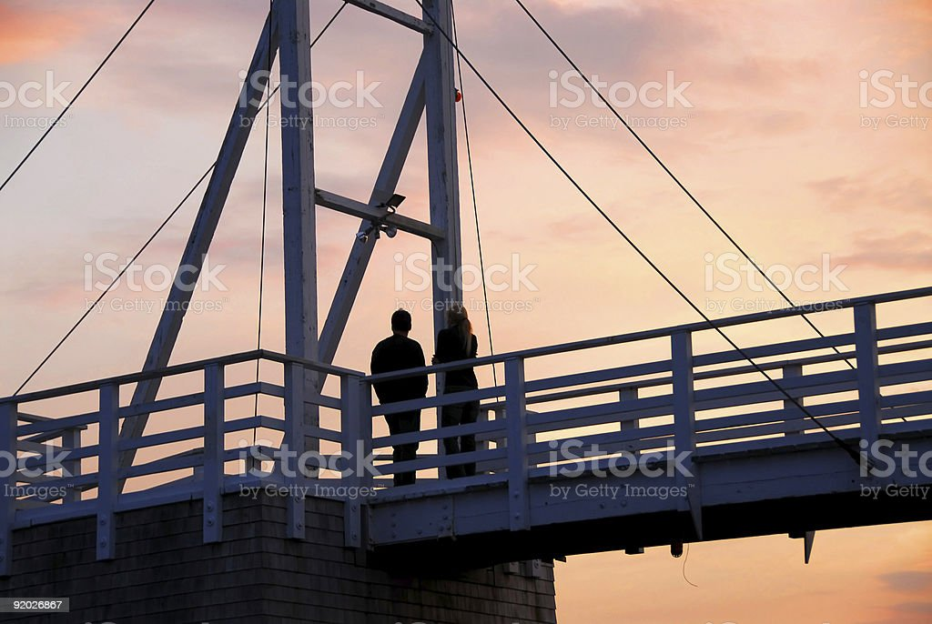 Couple watching sunset royalty-free stock photo