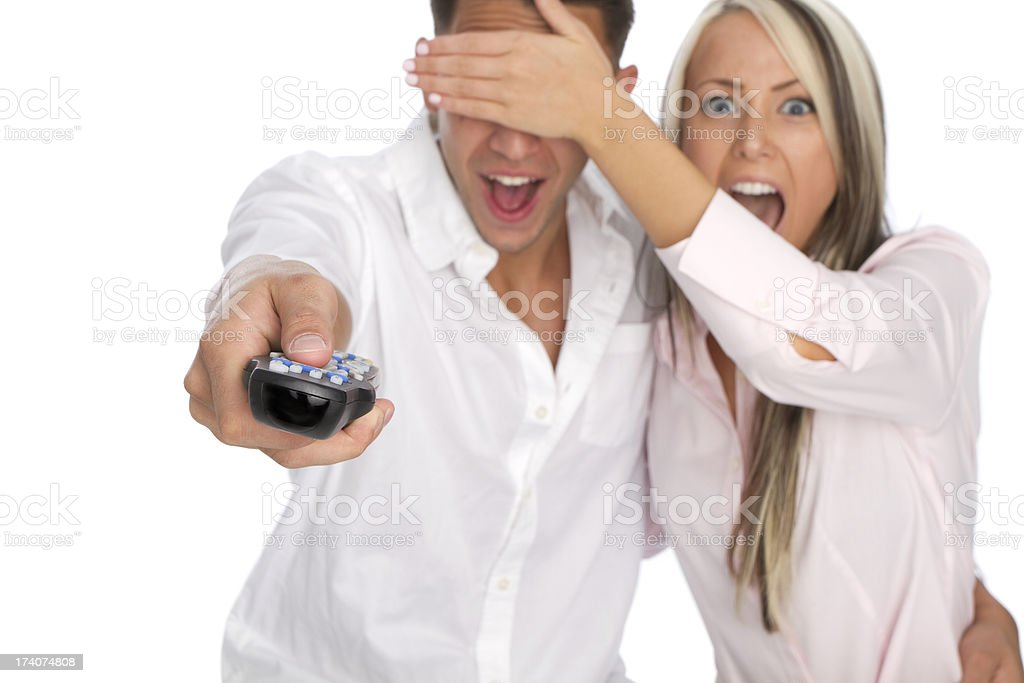 couple watching television stock photo