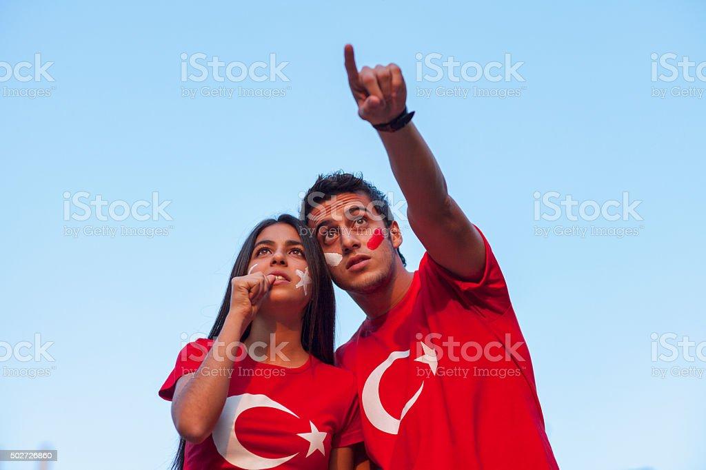 Couple wearing Turkish flag t-shirt stock photo