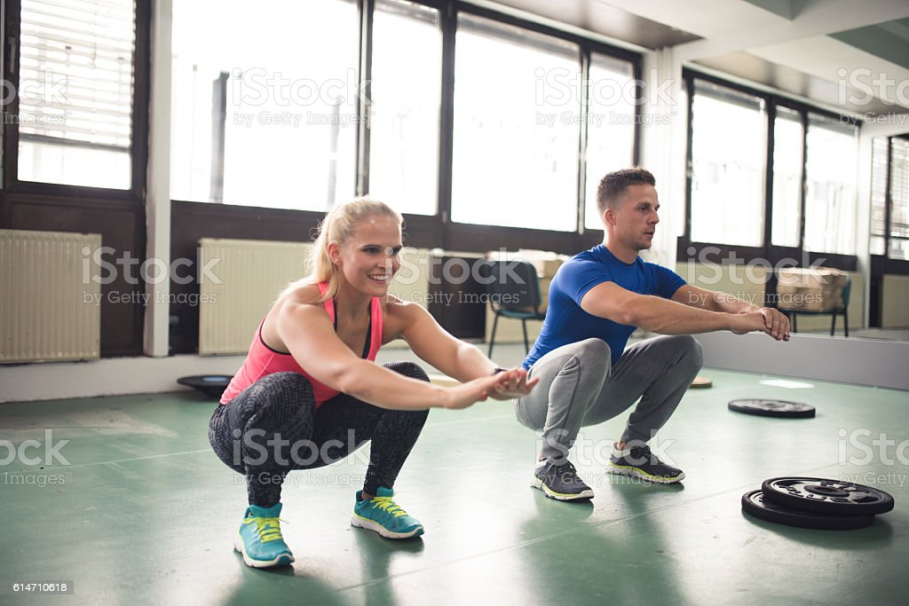 Couple who trains together stays together stock photo