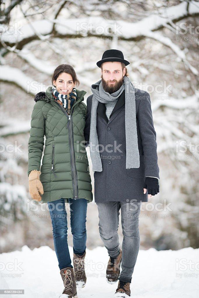 Couple Winter Fashion, Candid Lifestyle stock photo