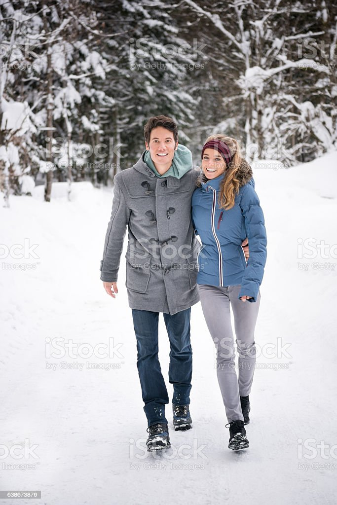Couple Winter Fashion, Candid Lifestyle stock photo