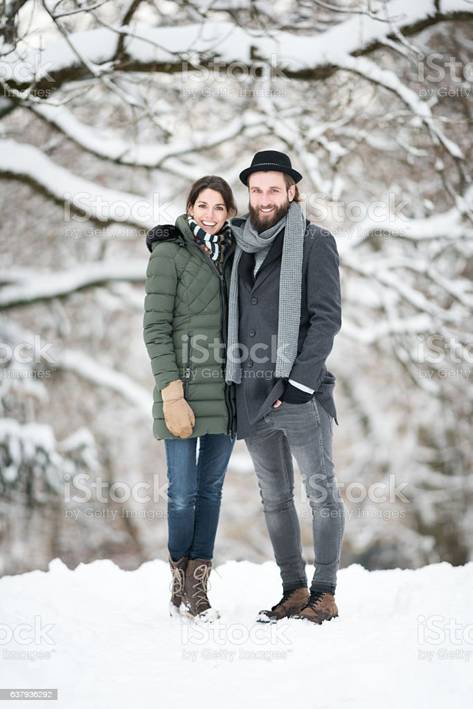 Couple Winter Portrait, Candid Lifestyle stock photo