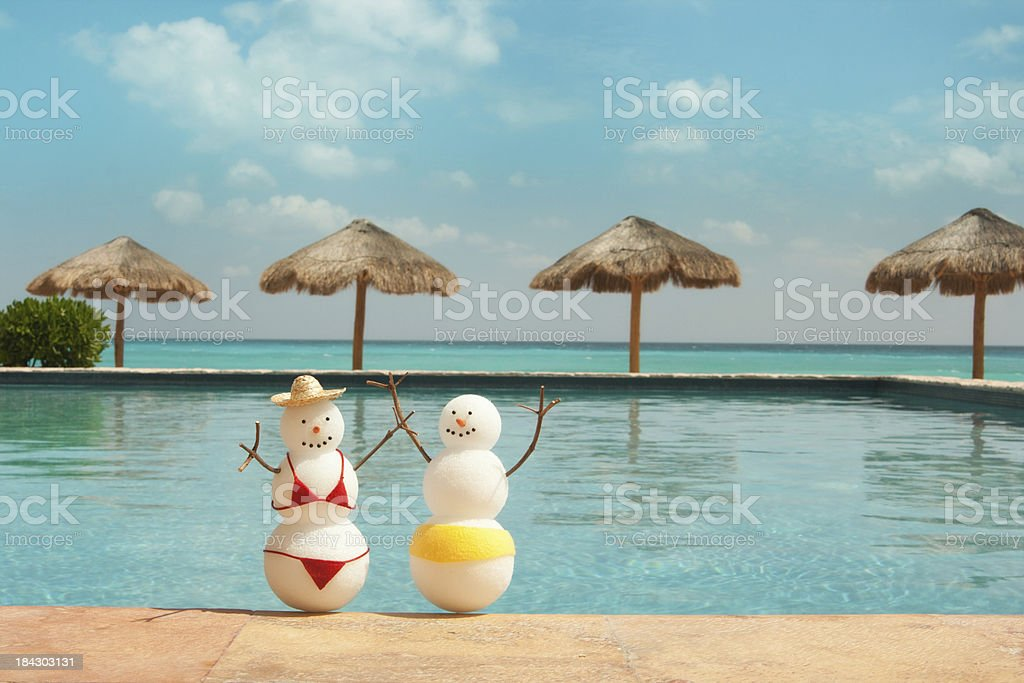 Couple Winter Vacation and Sunbathing in Tropical Hotel Resort H stock photo