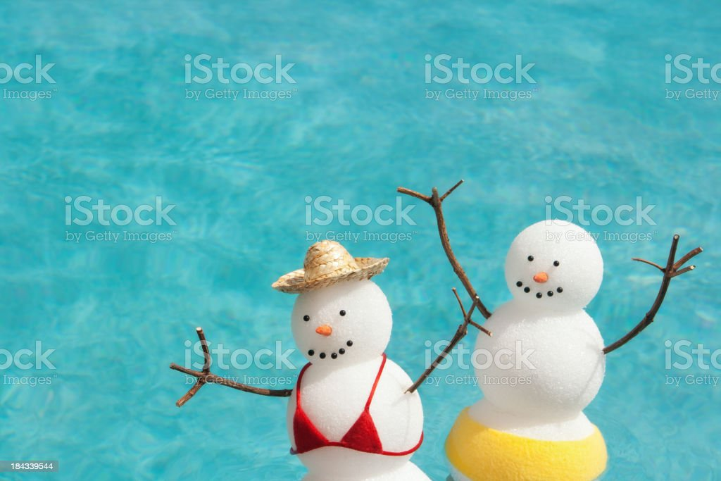 Couple Winter Vacation Enjoying Sunbathing in Tropical Hotel Res stock photo